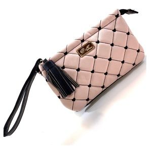 BETSEY JOHNSON Pink Quilted Black Trim Wristlet